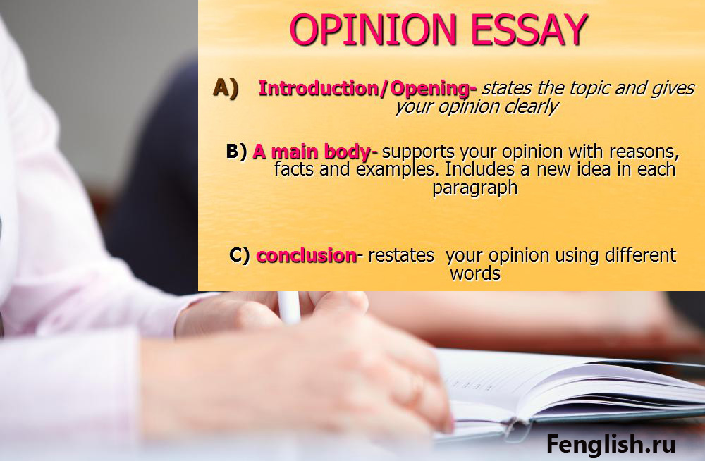 essay on idea and opinion Refer to some striking or unusual fact, idea or situation in an opinion essay, you write your opinion about a topic when you write an opinion essay.
